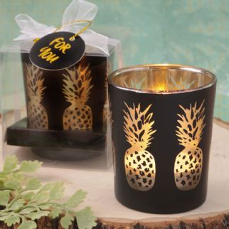 Matte Black Candle Holder With Gold Pineapple Detail